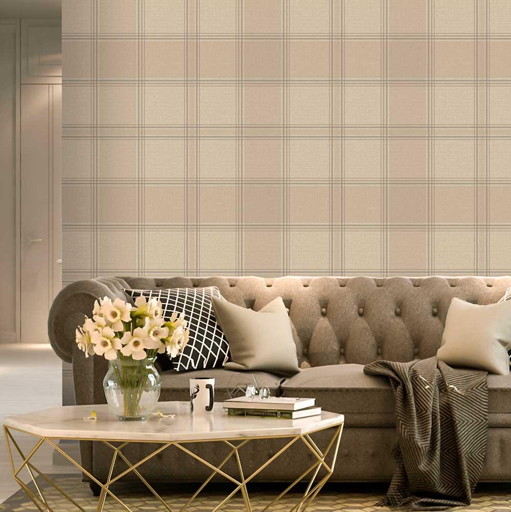 Albany Giorgio Check Beige Wallpaper - Product code: 8102