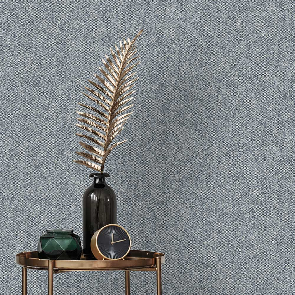 San Remo Texture Wallpaper - Navy - by Albany