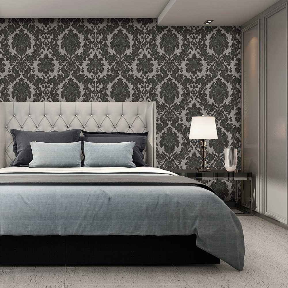 Albany San Remo Damask Charcoal Wallpaper - Product code: 6523