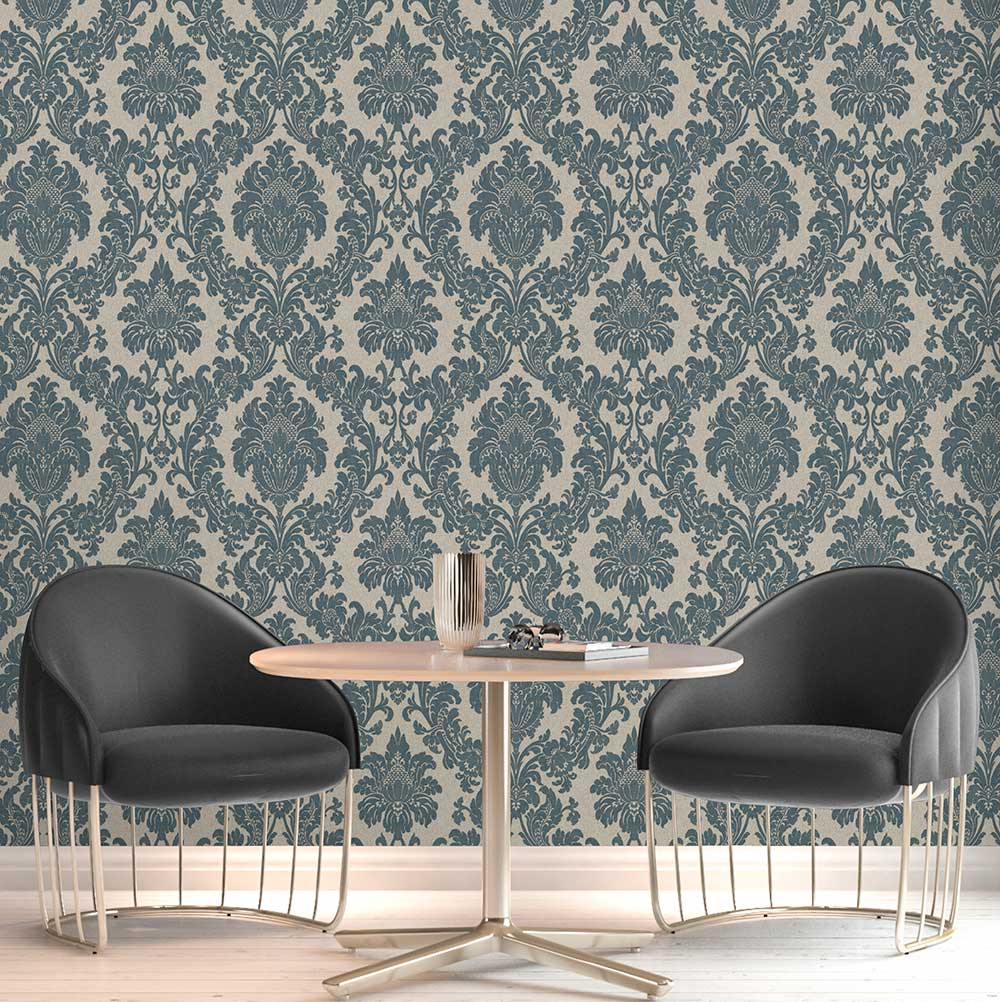 Albany San Remo Damask Navy Wallpaper - Product code: 6524