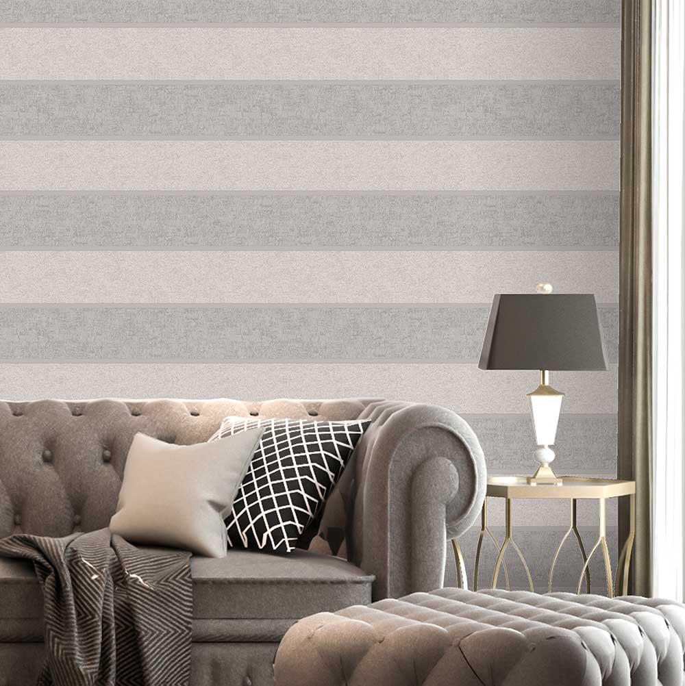San Remo Stripe Wallpaper - Smoke - by Albany