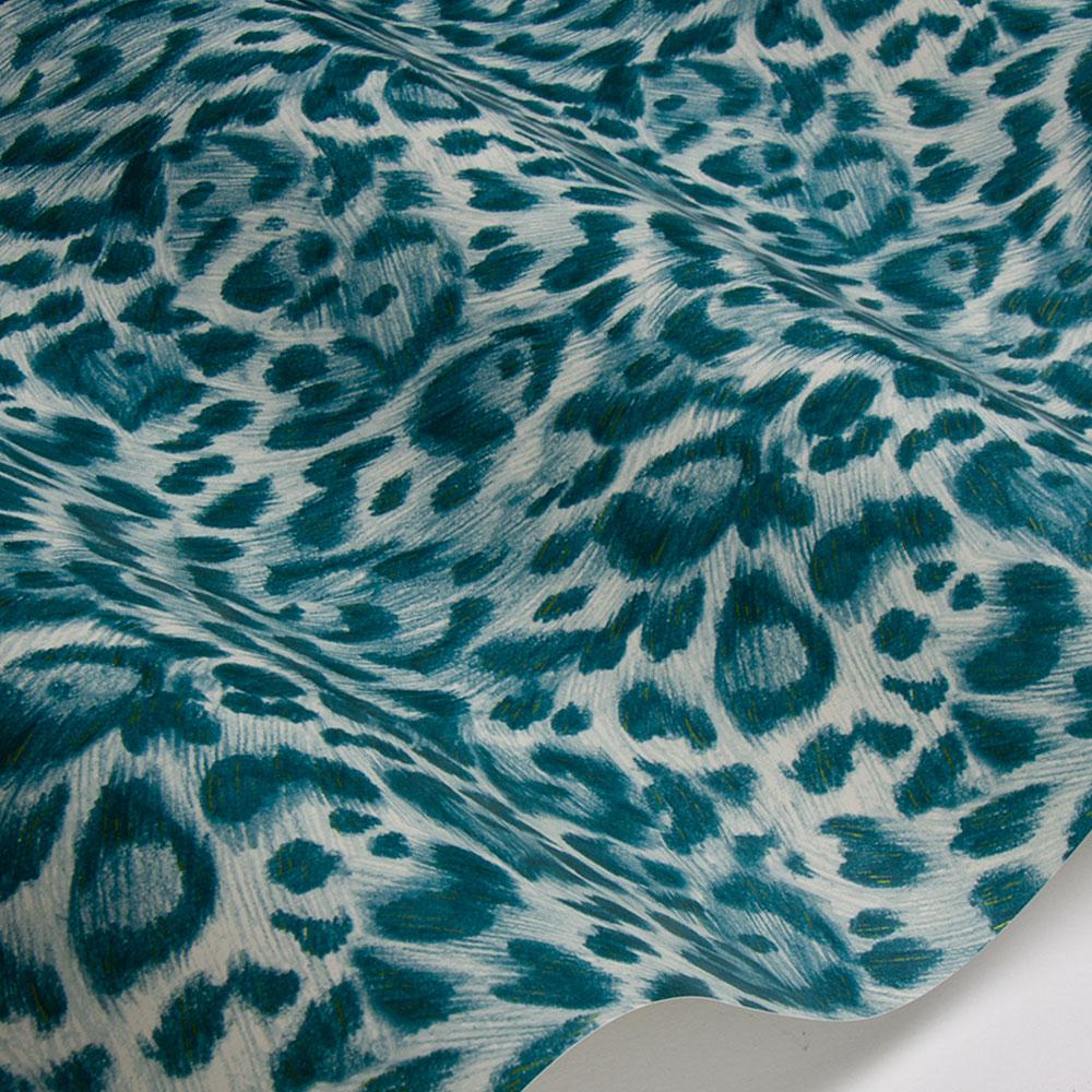 Emma J Shipley Felis Teal / Lime Wallpaper - Product code: W0115/10