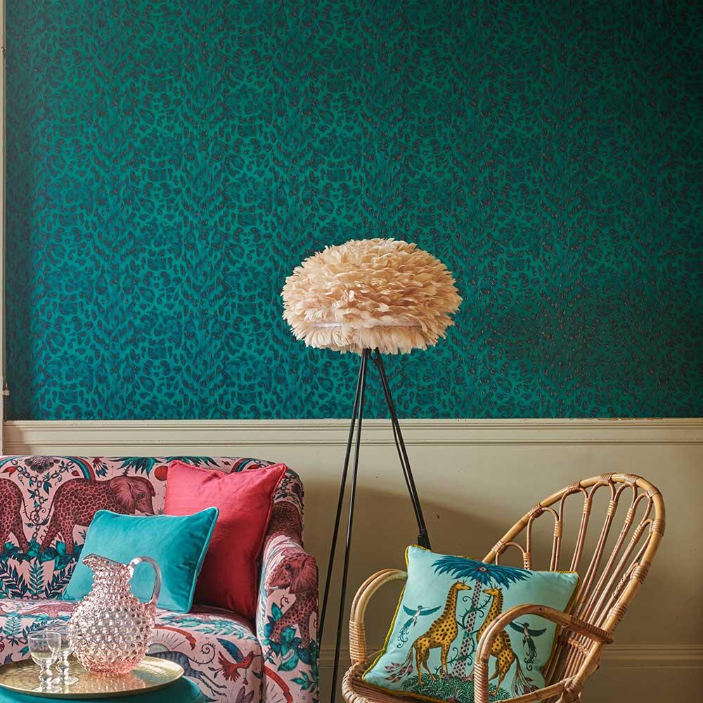 Felis Wallpaper - Teal / Rose Gold - by Emma J Shipley