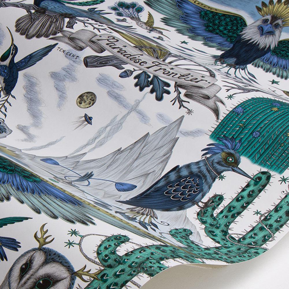 Frontier Wallpaper - Blue - by Emma J Shipley
