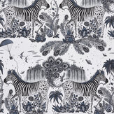 Clarke & Clarke Lost World Blue Wallpaper - Product code: W0117/01