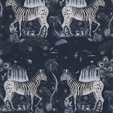 Clarke & Clarke Lost World Navy Wallpaper - Product code: W0117/03