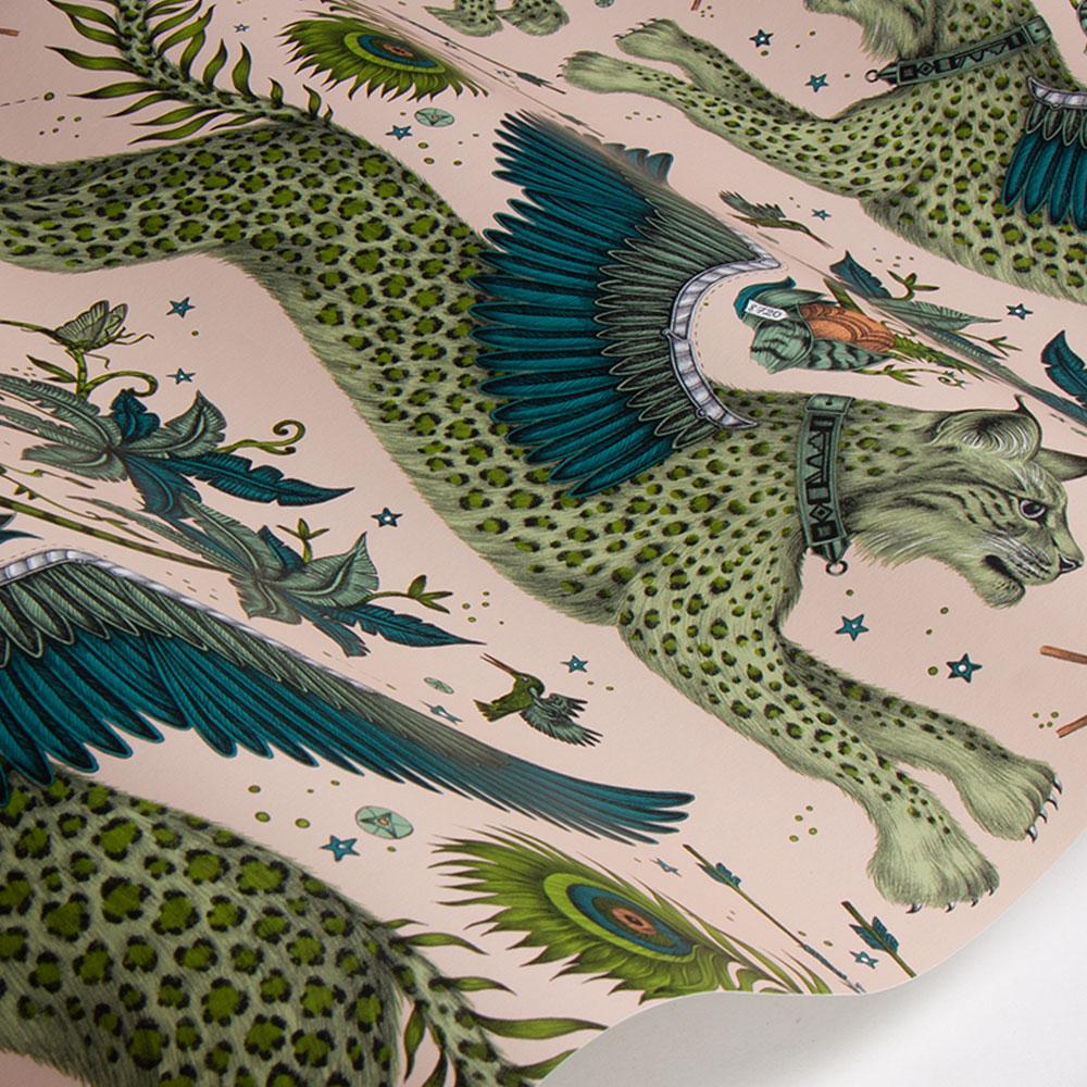 Lynx Wallpaper - Pink - by Emma J Shipley