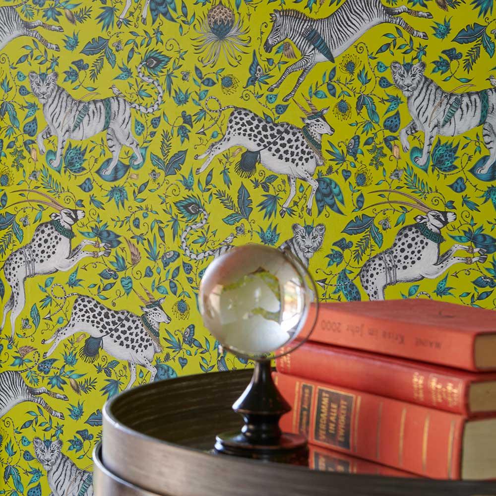 Protea Wallpaper - Lime - by Emma J Shipley