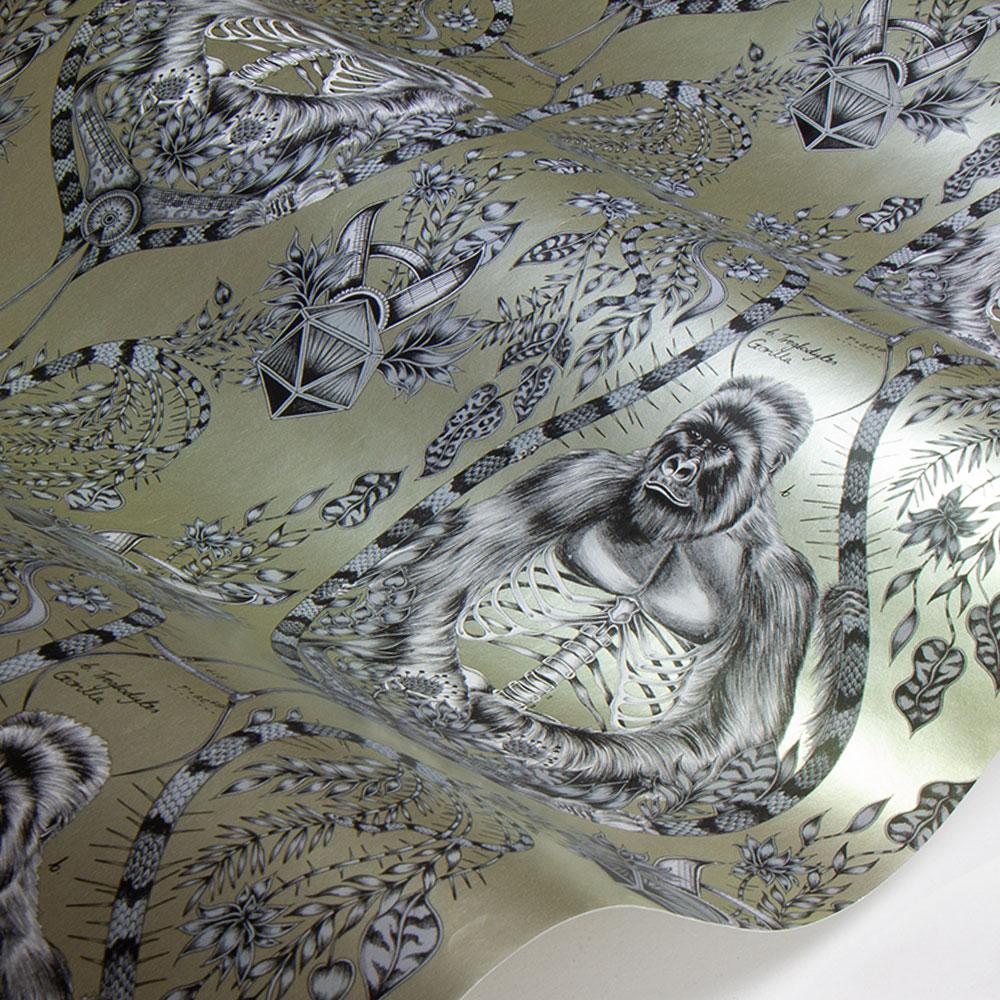 Silverback Wallpaper - Gold - by Emma J Shipley