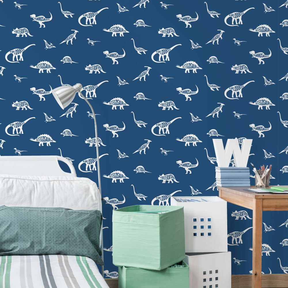 Dino Dictionary Wallpaper - Blue - by Albany