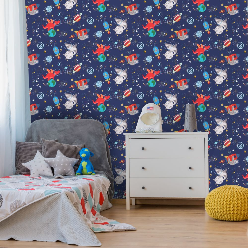 Space Animals Wallpaper - Navy - by Albany