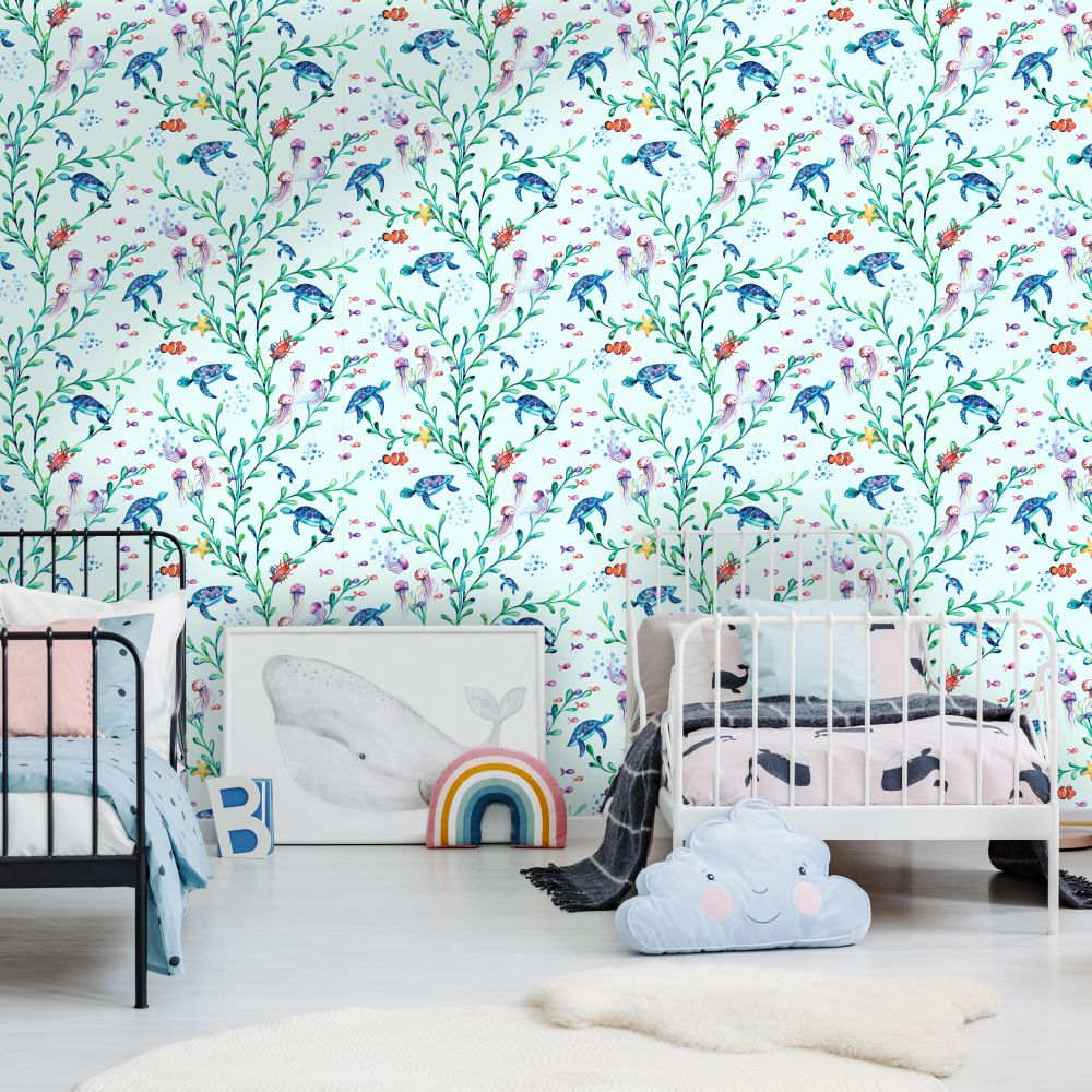 Under the Sea Wallpaper - Light Teal - by Albany