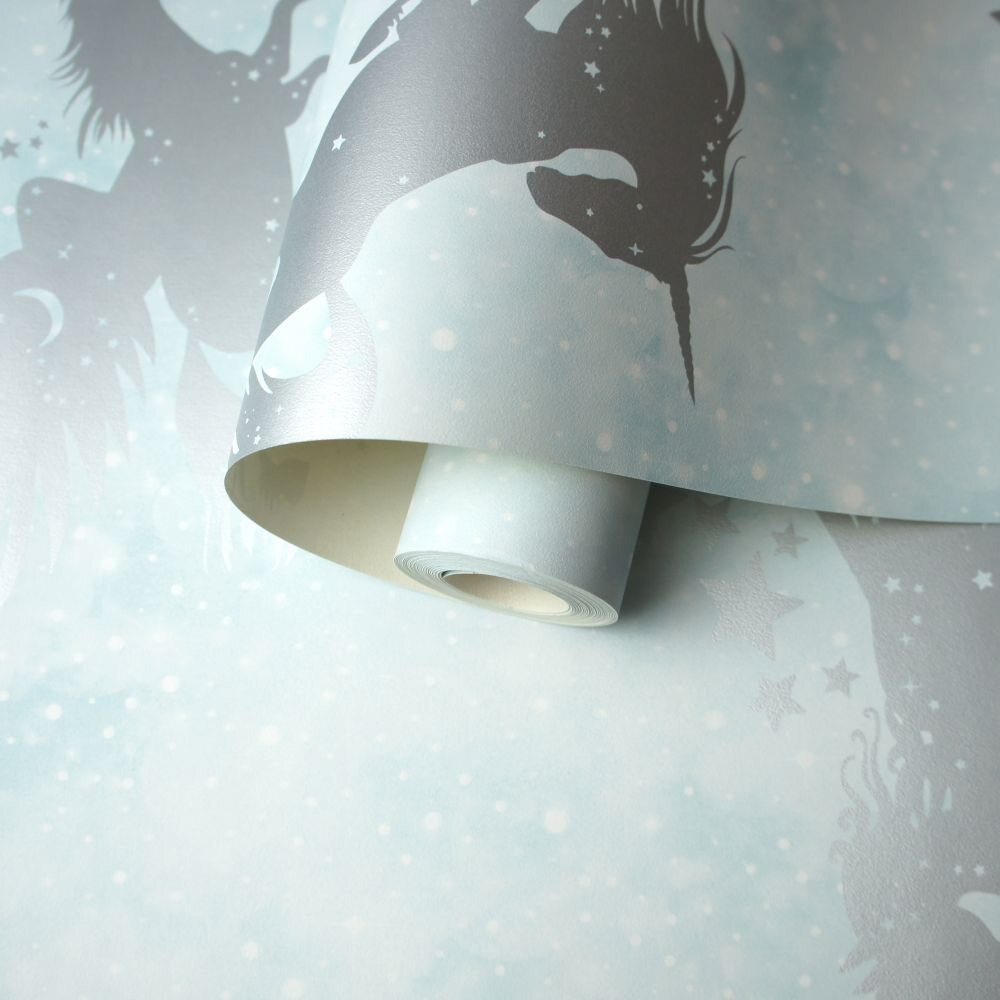 Albany Iridescent Unicorns Teal / Silver Wallpaper - Product code: 90950