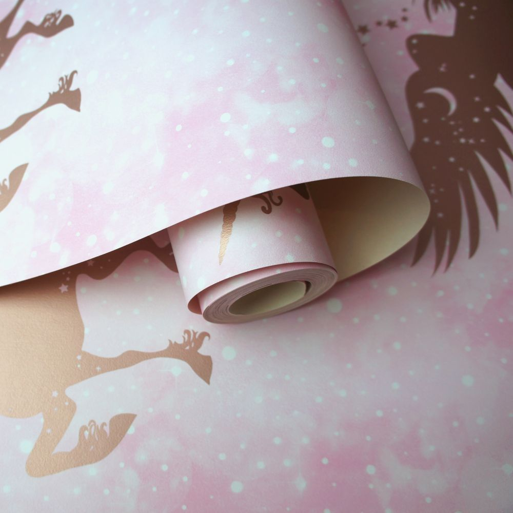 Iridescent Unicorns Wallpaper - Pink / Rose Gold - by Albany