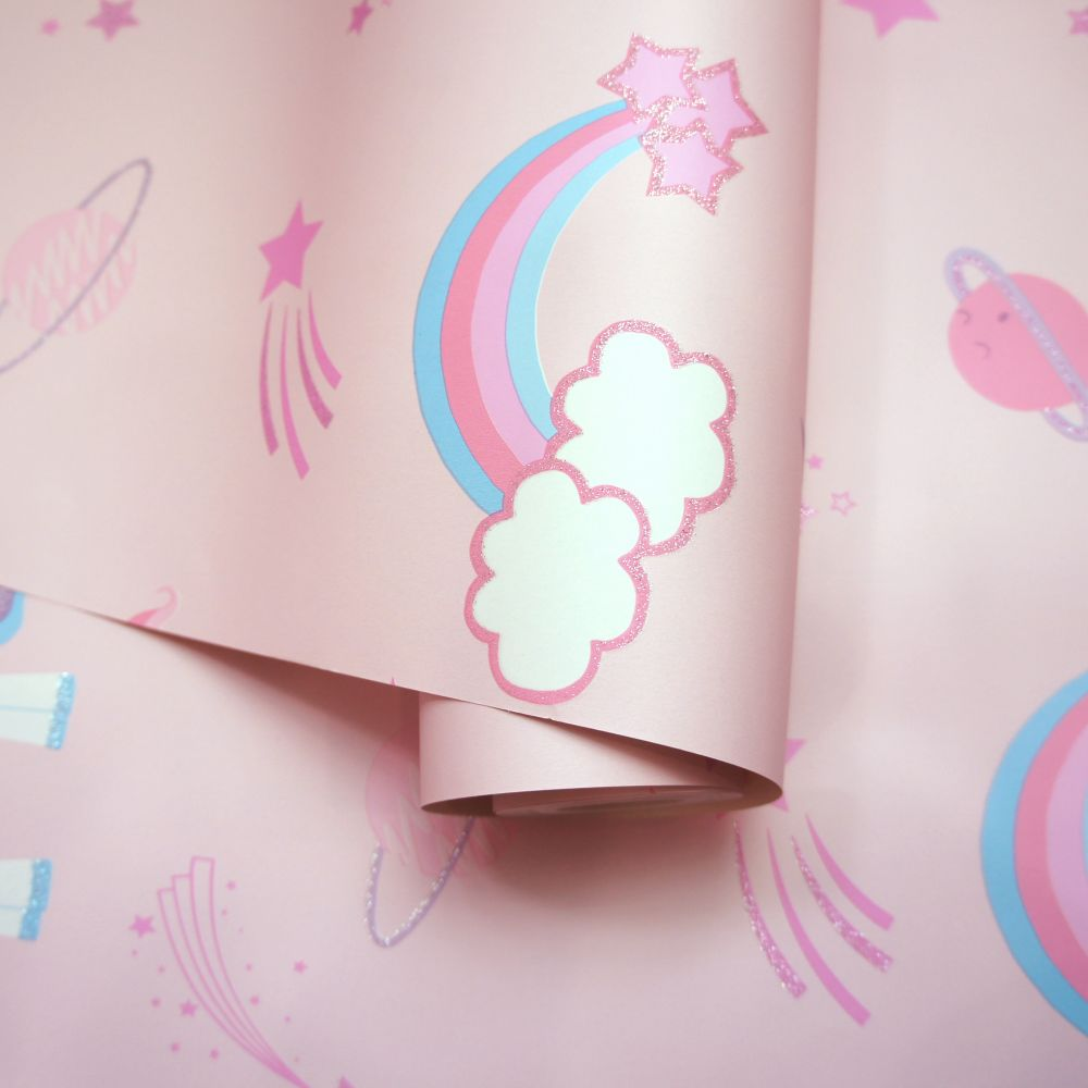 Albany Unicorns, Rockets and Rainbows Pink Wallpaper - Product code: 90961