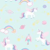 Albany Unicorns, Rockets and Rainbows Teal Wallpaper - Product code: 90962