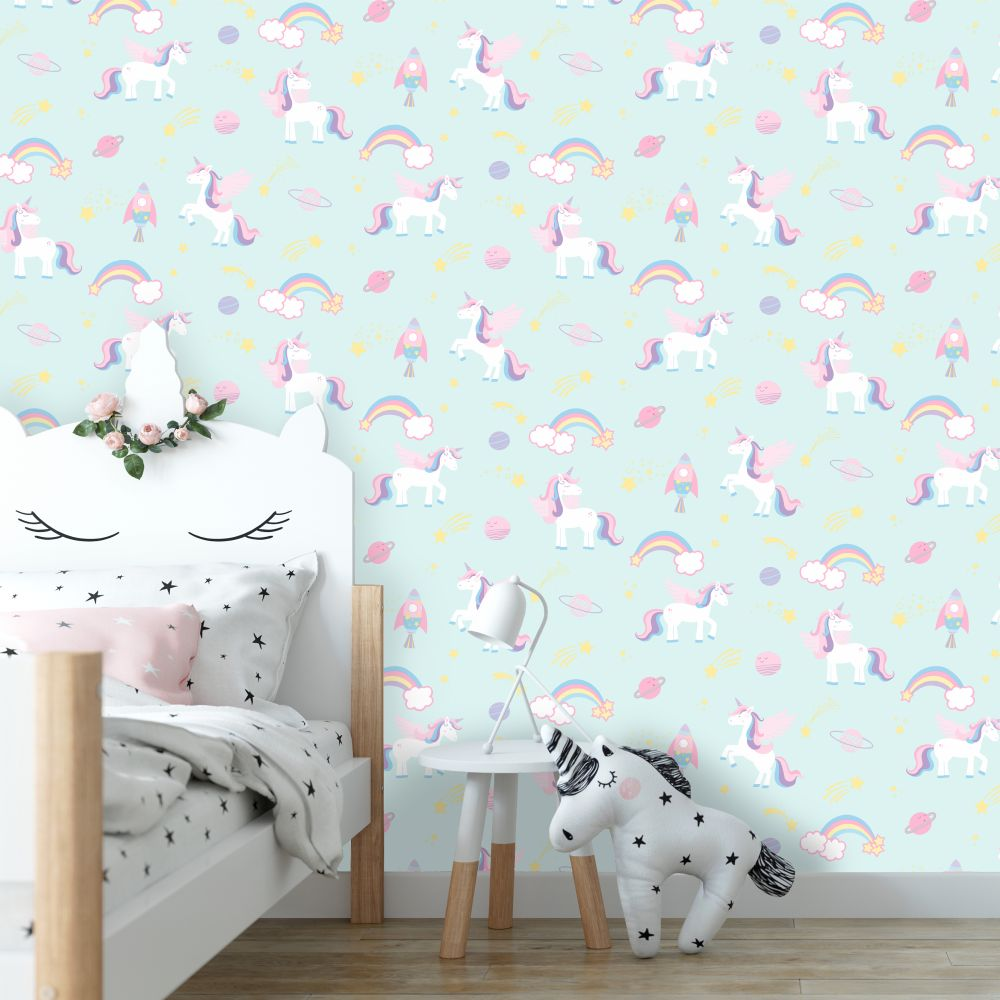 Unicorns, Rockets and Rainbows Wallpaper - Teal - by Albany