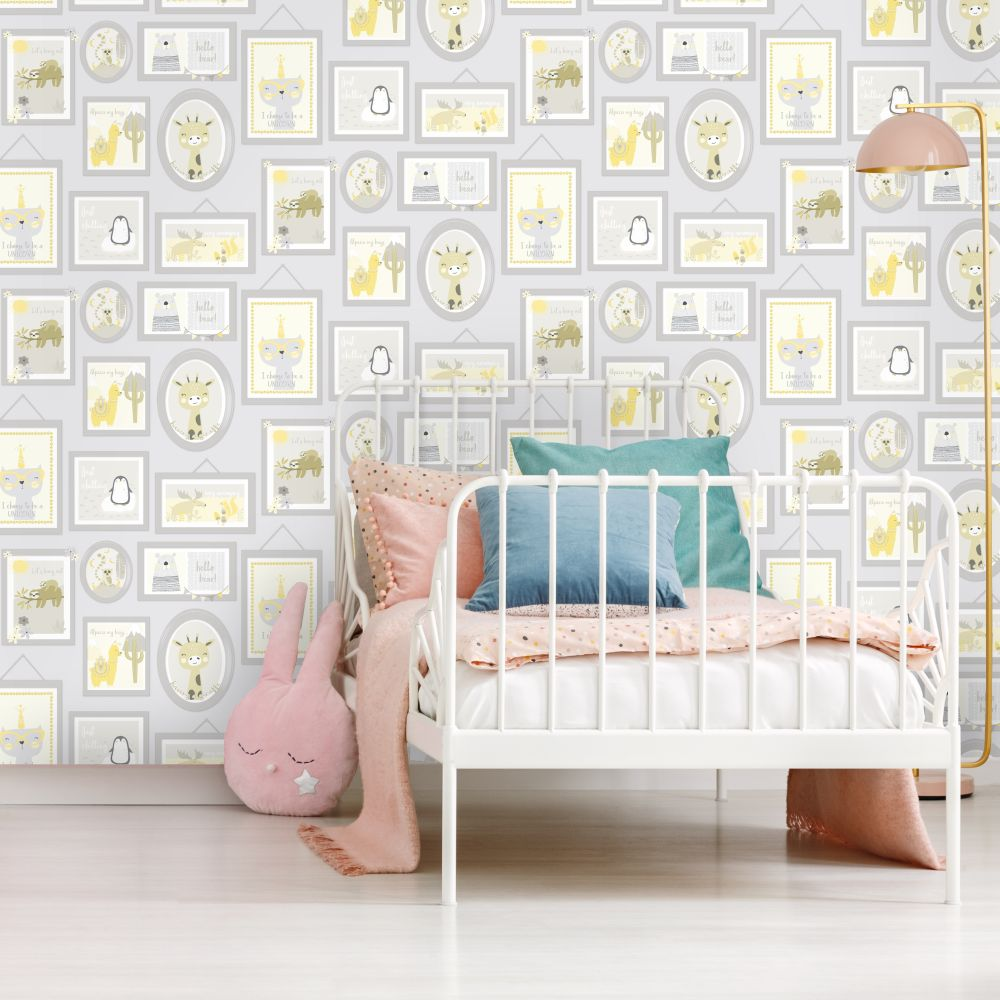 Animal Frames Wallpaper - Yellow / Grey - by Albany