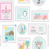 Albany Animal Frames Teal / Pink Wallpaper - Product code: 90971