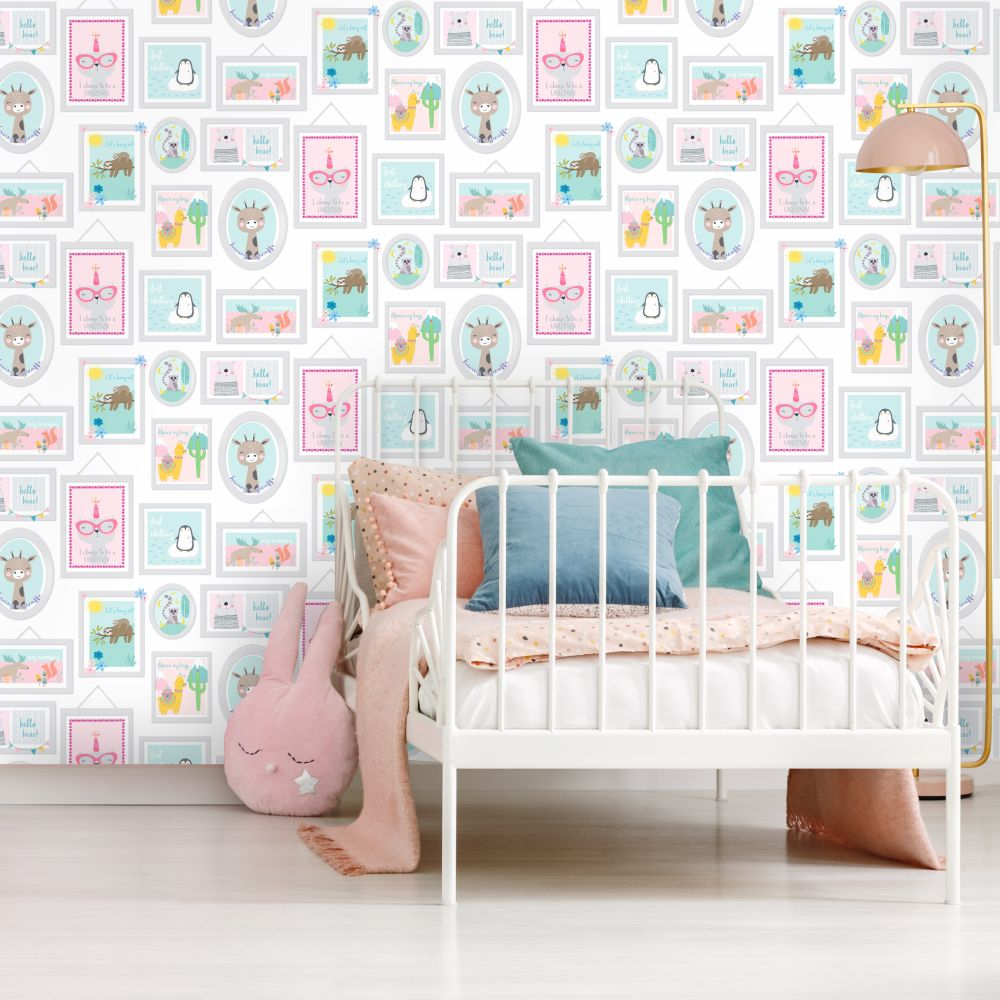 Animal Frames Wallpaper - Teal / Pink - by Albany