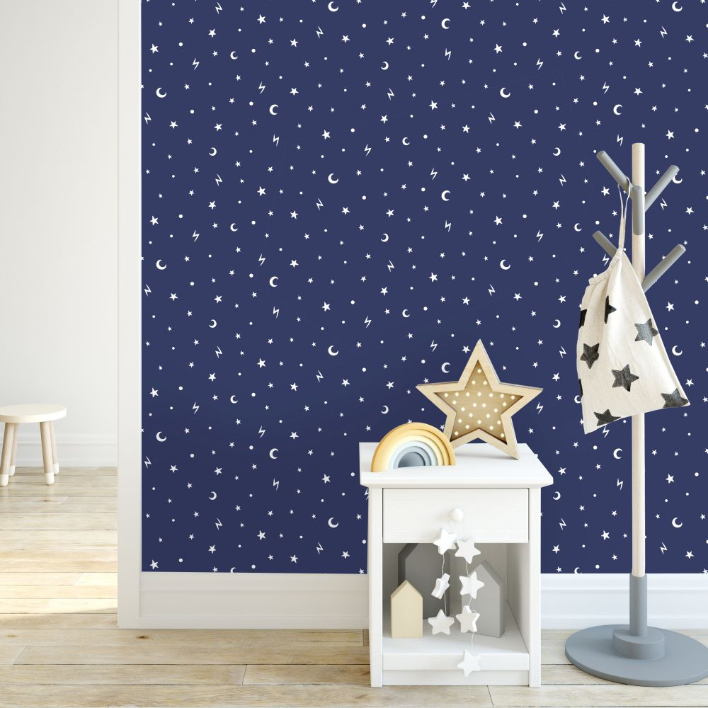 Stars and Moons Wallpaper - Navy - by Albany