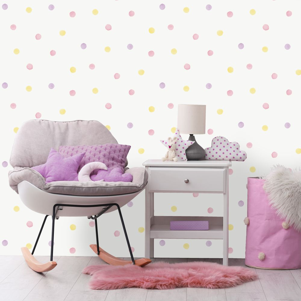Albany Watercolour Polka Dots Pink / Yellow Wallpaper - Product code: 91000