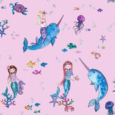 Albany Narwhals and Mermaids Pink Wallpaper - Product code: 91010