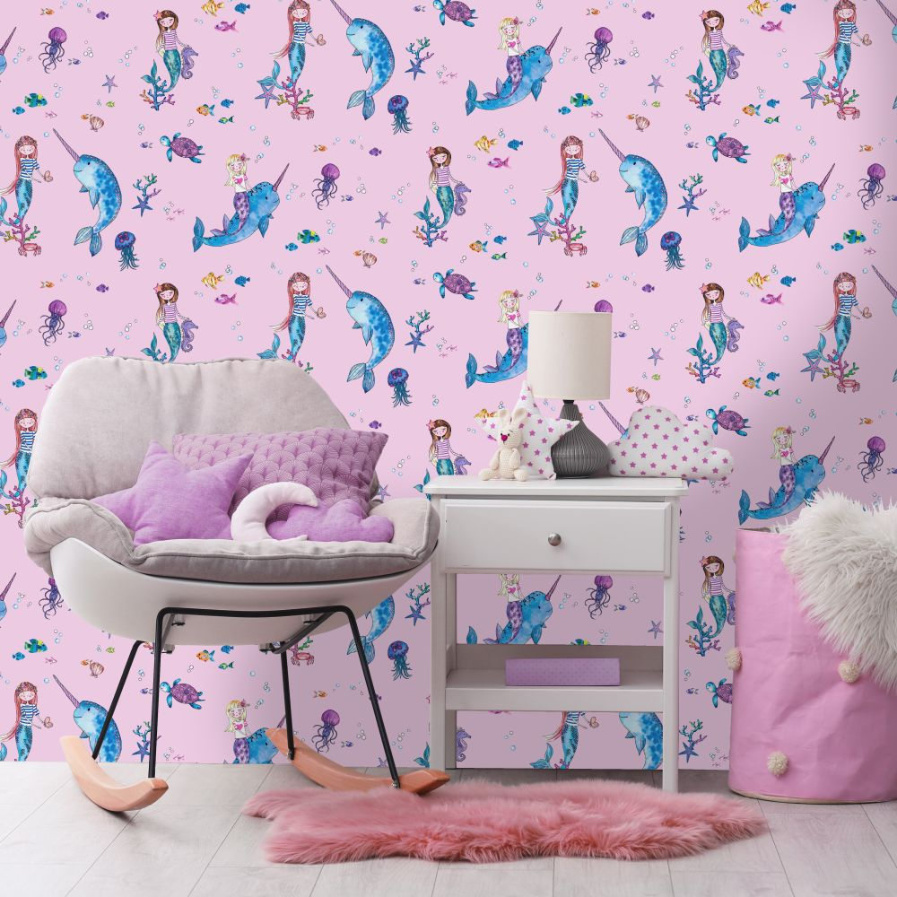 Narwhals and Mermaids Wallpaper - Pink - by Albany