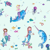 Albany Narwhals and Mermaids Light Teal Wallpaper - Product code: 91011
