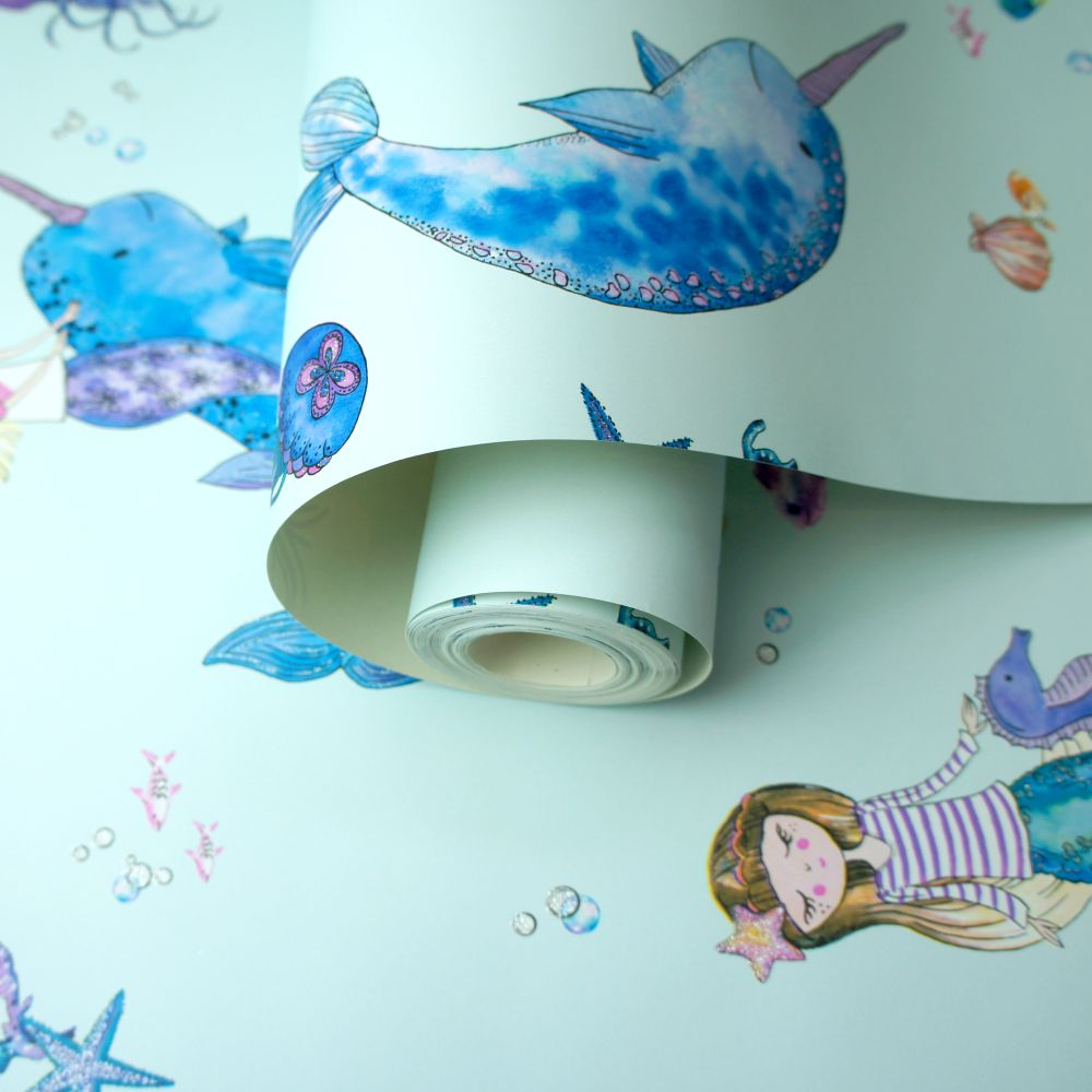 Narwhals and Mermaids Wallpaper - Light Teal - by Albany