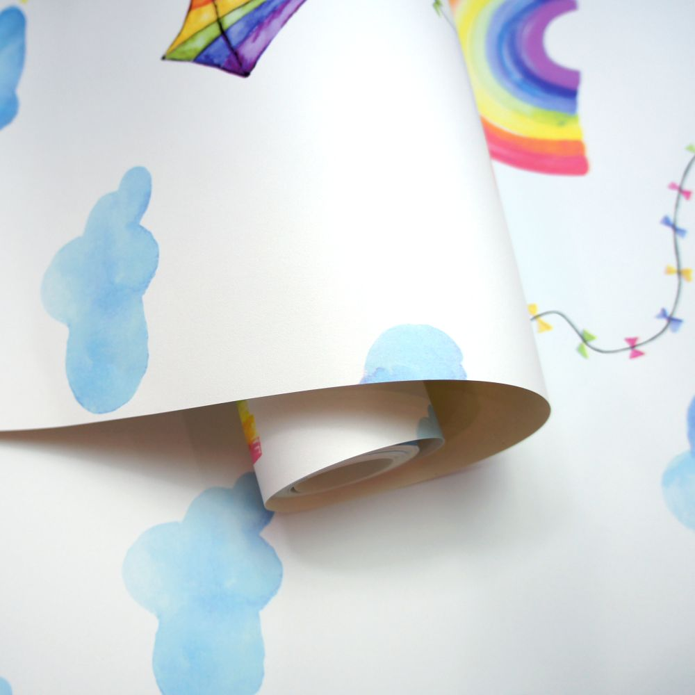 Albany Rainbows and Flying Kites White / Multi Wallpaper - Product code: 91020