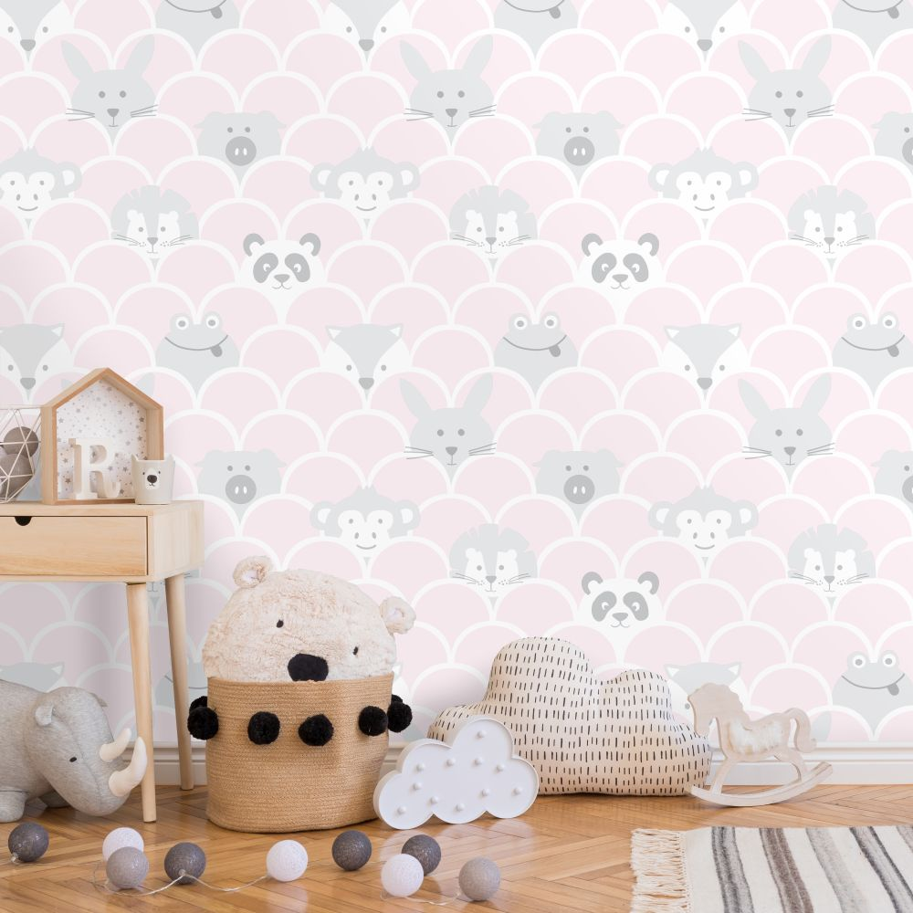 Peek a Boo Wallpaper - Pink - by Albany