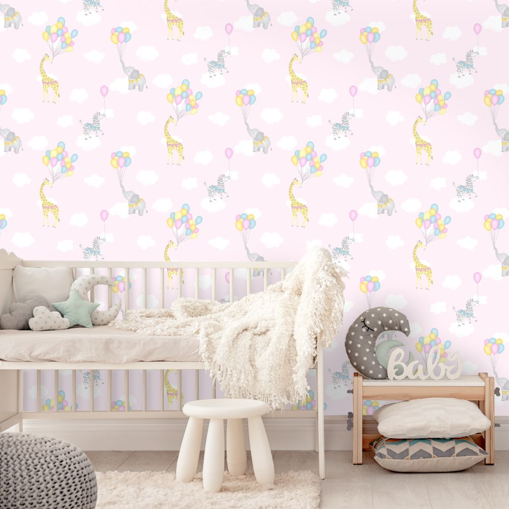 Albany Animal Balloons Pink Wallpaper - Product code: 91040