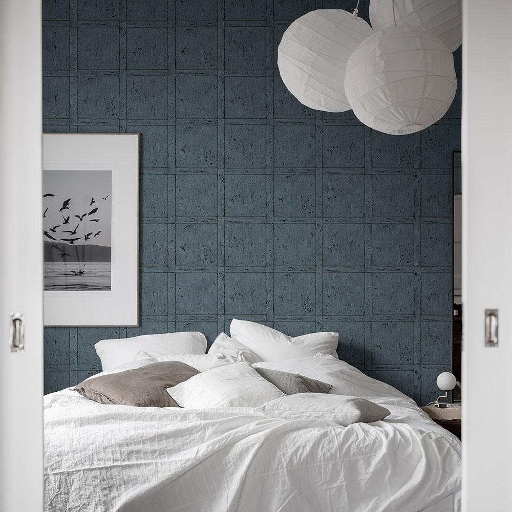 Vintage Panel Wallpaper - Blue - by Boråstapeter