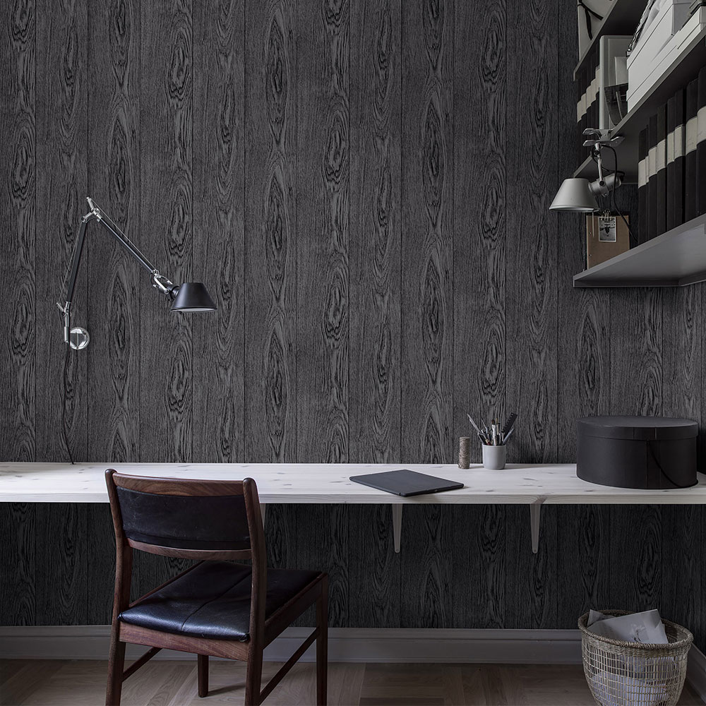 Boråstapeter Fine Wood Black Wallpaper - Product code: 1176