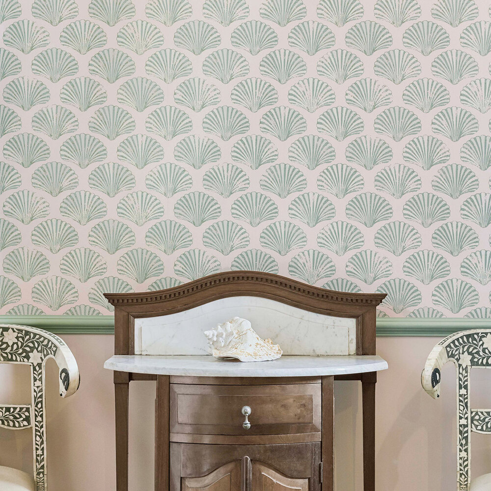 Scallop Shell Wallpaper - Plaster / Green - by Barneby Gates