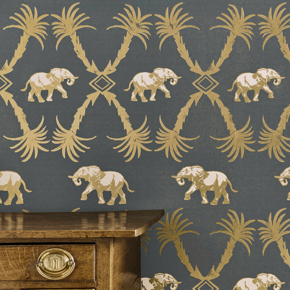 Elephant Palm Wallpaper - Gunmetal / Gold - by Barneby Gates