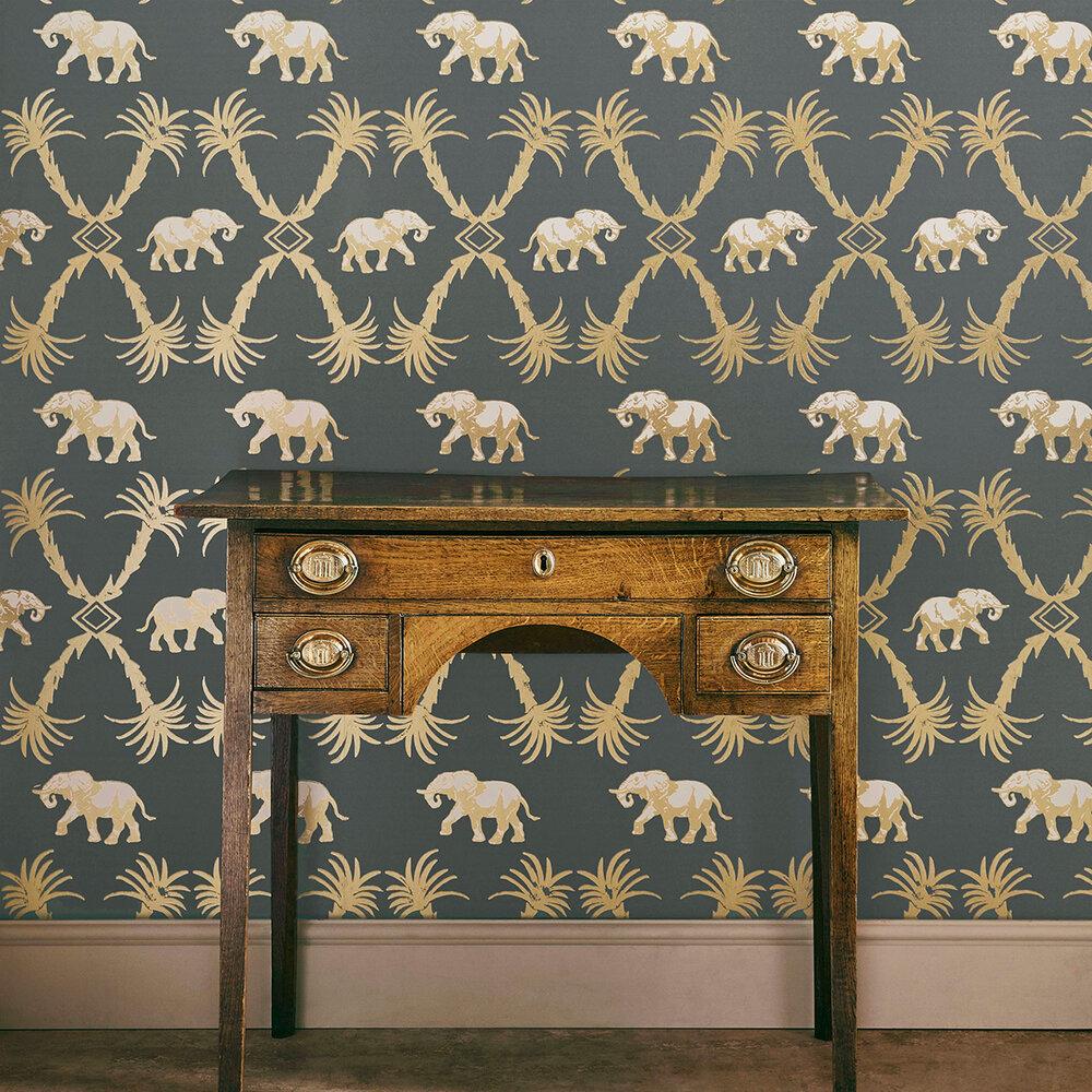 Barneby Gates Elephant Palm Gunmetal / Gold Wallpaper - Product code: BG2100201
