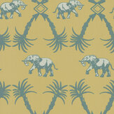 Barneby Gates Elephant Palm Ochre / Blue Wallpaper - Product code: BG2100202