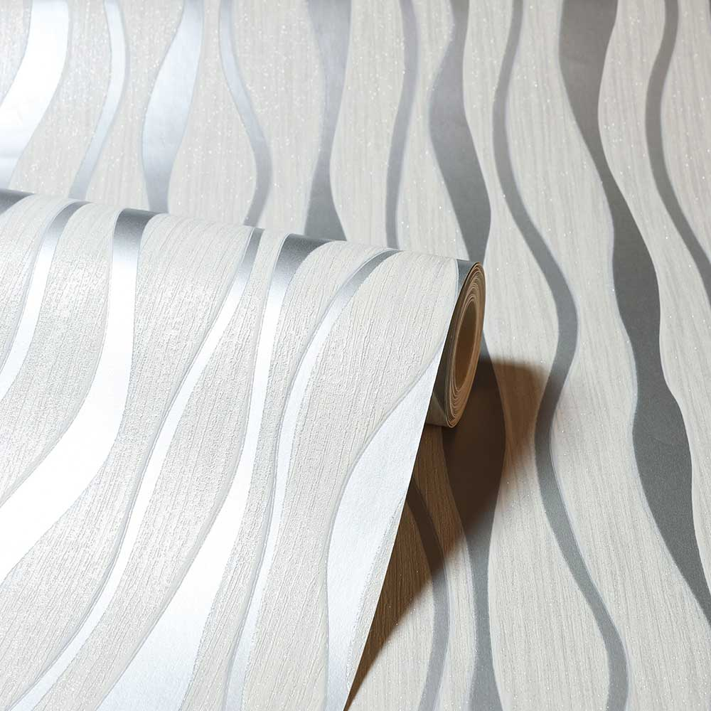 Metallic Wave Wallpaper - White / Silver - by Arthouse