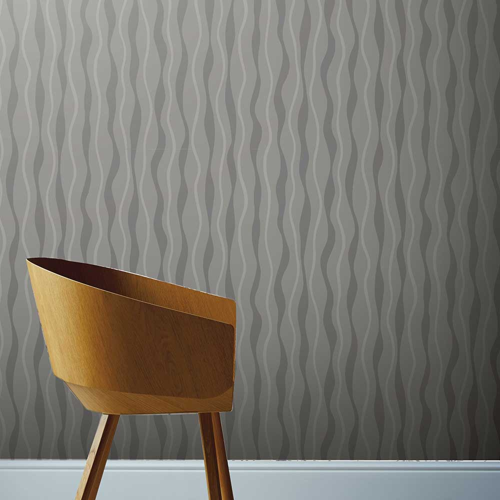 Metallic Wave Wallpaper - Grey - by Arthouse