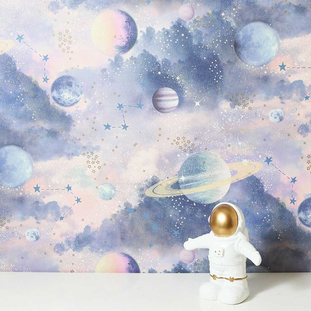 Glitter Planets Wallpaper - Pink / Purple - by Arthouse