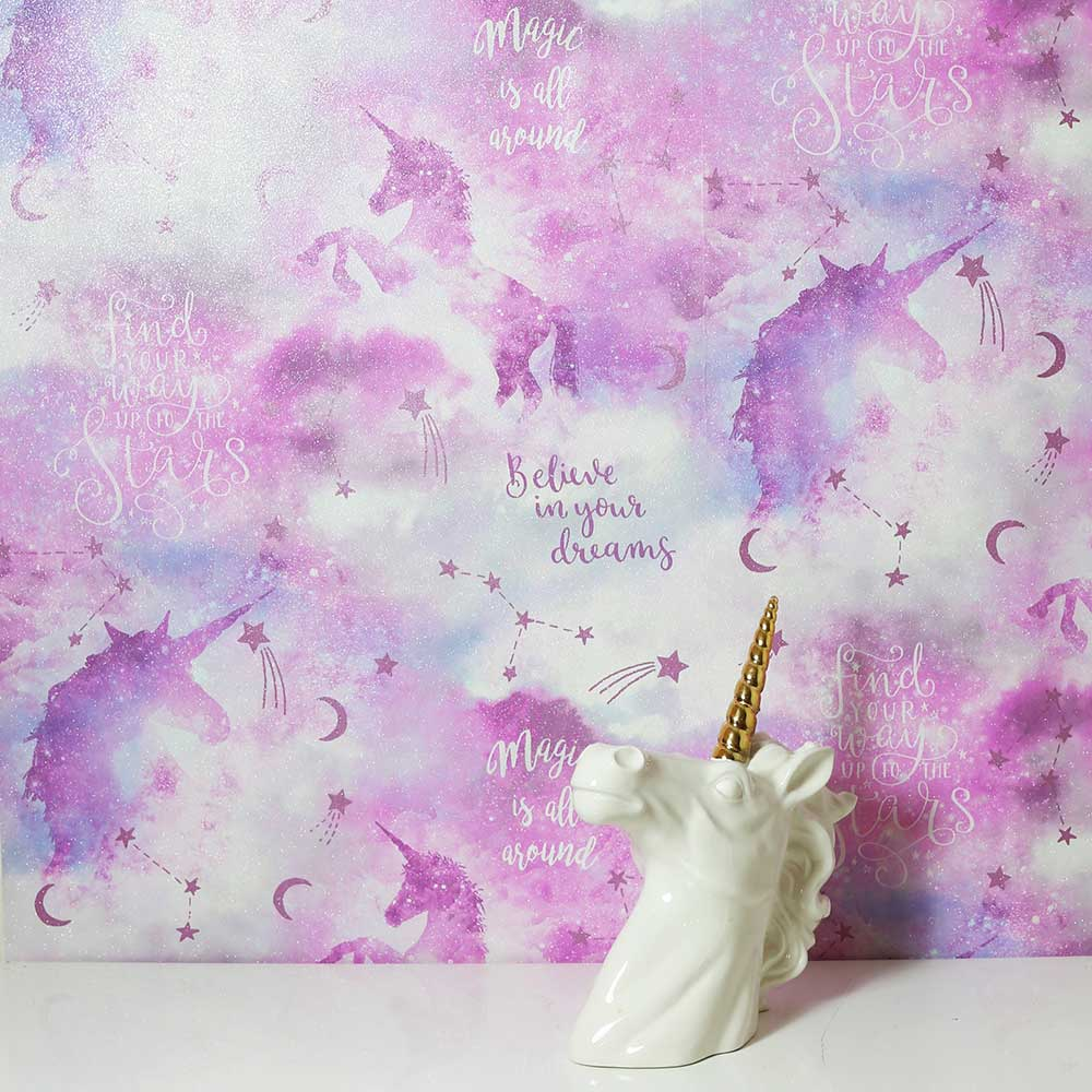 Galaxy Unicorn Wallpaper - Pink - by Arthouse