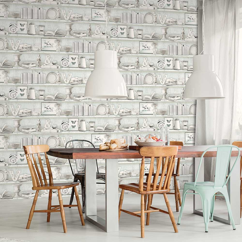 Galerie On The Shelf Pale Blue Wallpaper - Product code: FH37506