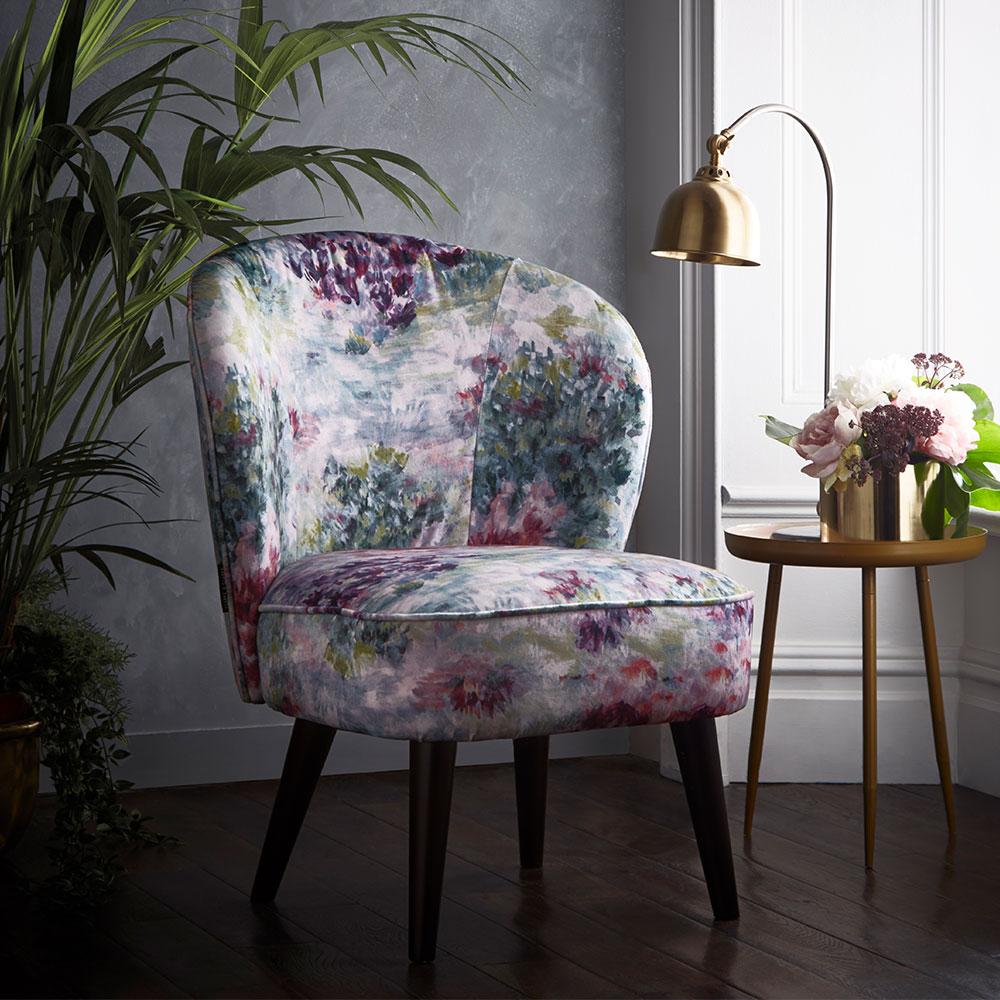 Ascot Chair - Fiore Armchair - Slate/ Amethyst - by Clarke & Clarke