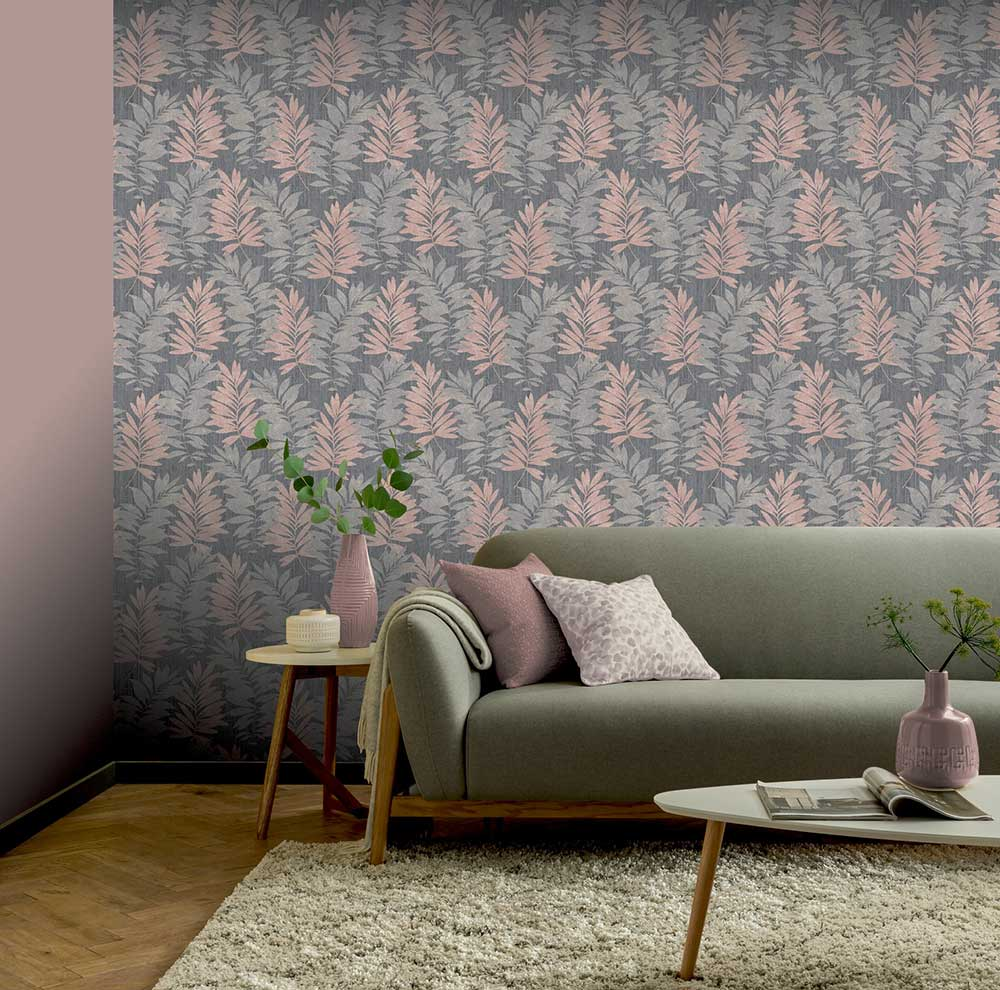 Stardust Palm Wallpaper - Pink / Grey - by Arthouse