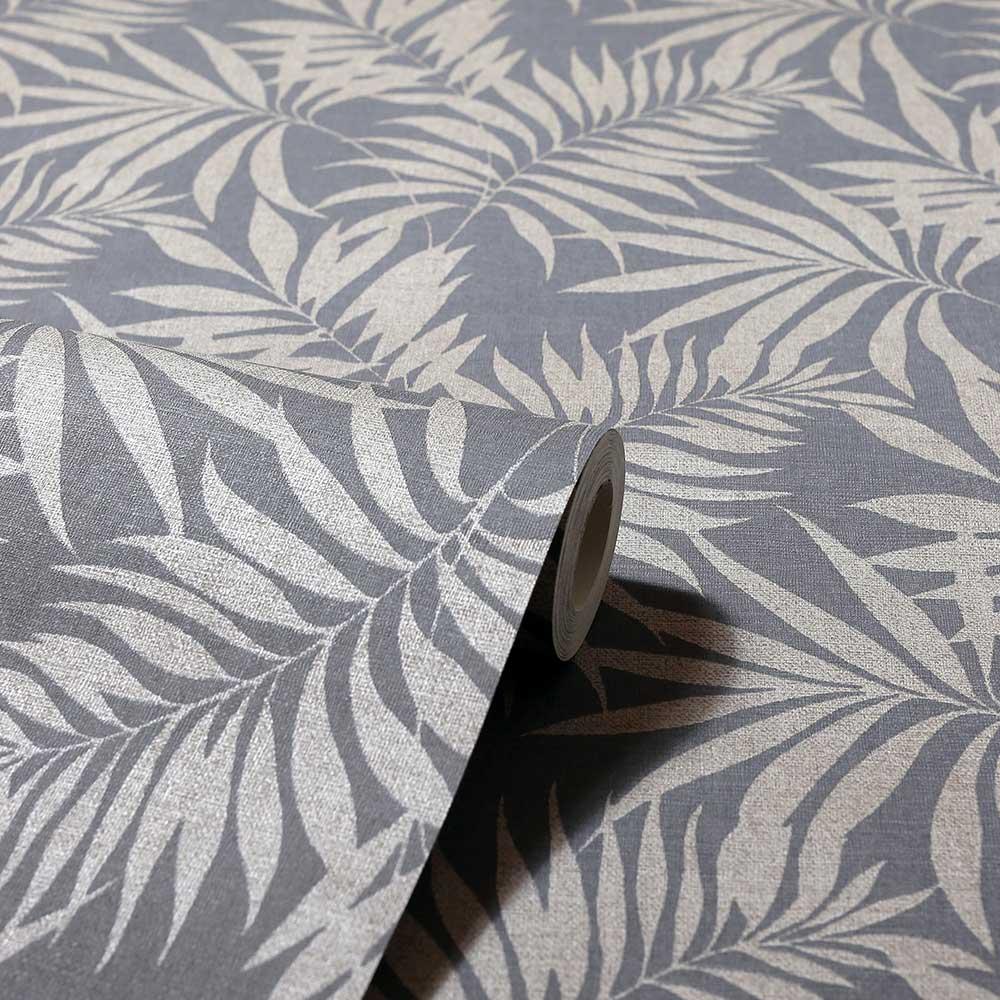 Oasis Leaf Wallpaper - Denim Blue - by Arthouse
