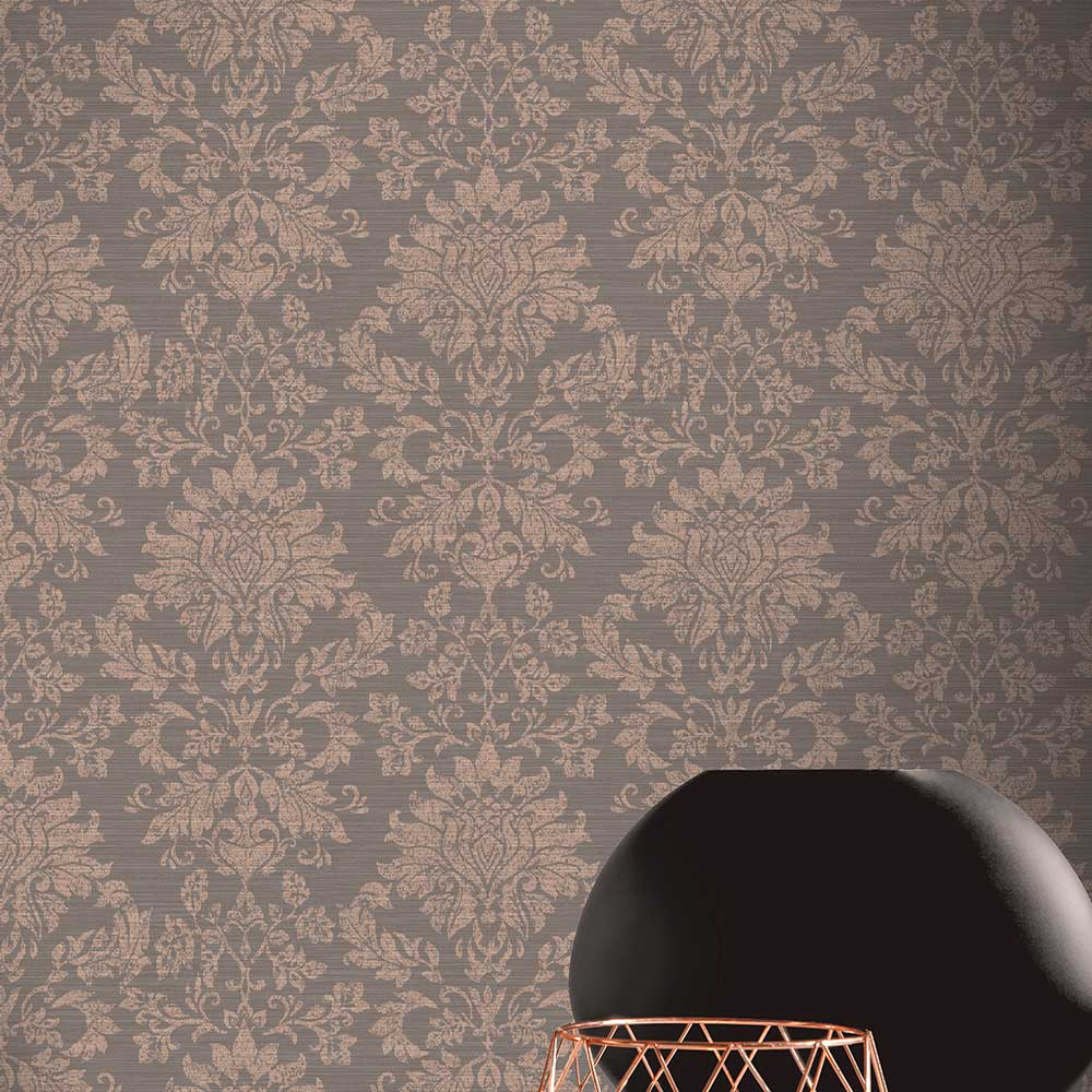 Arthouse Orient Damask Charcoal / Rose Wallpaper - Product code: 298000