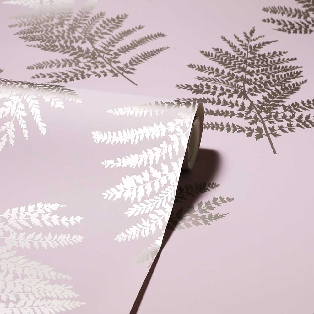 Metallic Fern Wallpaper - Blush - by Arthouse