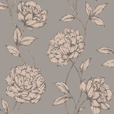 Arthouse Pretty Floral Charcoal / Rose Gold Wallpaper - Product code: 688001